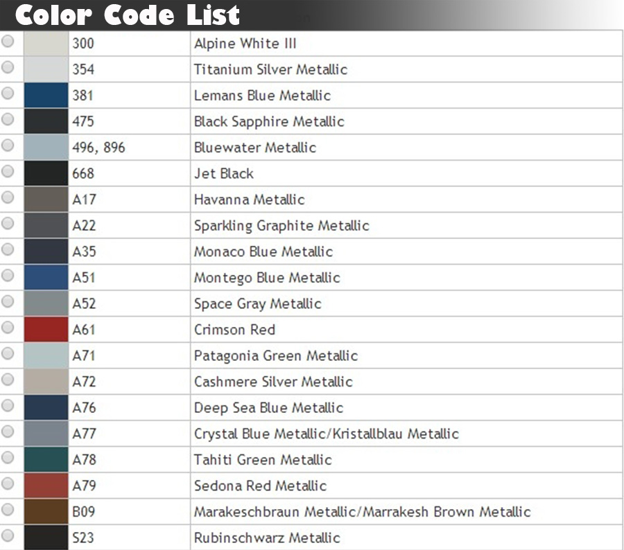 Bmw I Paint Codes